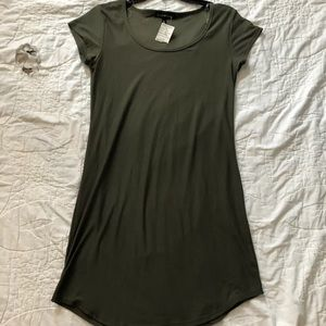 NWT DEREK HEART Olive Green Shirt Dress, Sz L